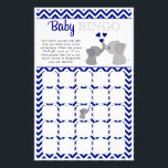 """Boy Navy Elephant Baby Shower BINGO Game Chev 366 Flyer<br><div class=""""desc"""">Design Description An EXCLUSIVE original design only available from MonkeyHutDesigns. &#160; Baby shower games sheet card. Boy Navy Elephant Baby Shower BINGO Game Sheet Chevron 366 theme featuring navy blue, gray, white colors and chevron striped pattern. Matches MonkeyHutDesigns&#39; baby shower invitation design #366. Wonderful game to liven up the gift...</div>"""