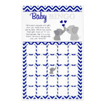 Boy Navy Elephant Baby Shower BINGO Game Chev 366 Flyer