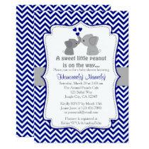 Boy Navy Elephant Baby Shower Invitations Chev 366
