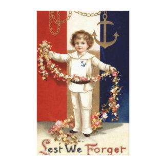 Boy Navy Uniform Flower Anchor Lest We Forget Canvas Print
