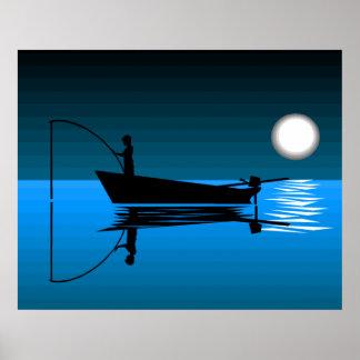 Boy Night Fishing On Lake Poster