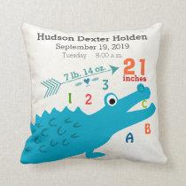 Boy Nursery Baby Birth Stat Alligator Cute Arrow Throw Pillow