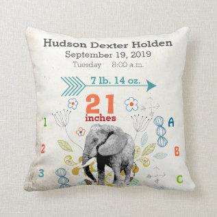 Boy Nursery Baby Birth Stat Elephant Arrow Pattern Throw Pillow at Zazzle