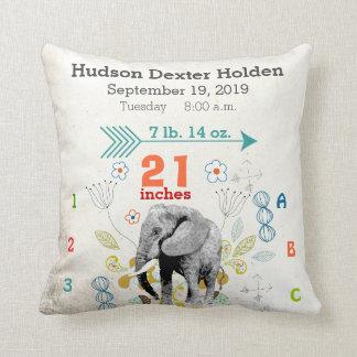 Boy Nursery Baby Birth Stat Elephant Arrow Pattern Throw Pillow