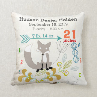 Boy Nursery Baby Birth Stat Fox Arrow Pattern Pillow