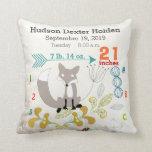Boy Nursery Baby Birth Stat Fox Arrow Pattern Throw Pillows