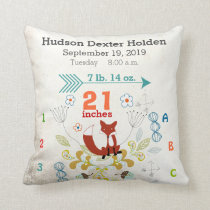Boy Nursery Baby Birth Stat Fox Arrow Pattern Throw Pillow