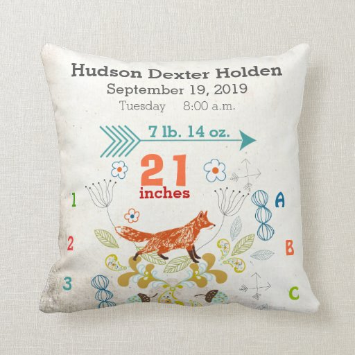 Throw Pillows Nairobi : Boy Nursery Baby Birth Stat Fox Arrow Pattern Throw Pillow Zazzle