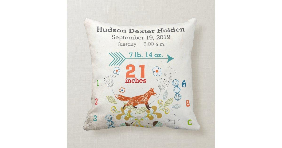 Boy Nursery Baby Birth Stat Fox Arrow Pattern Throw Pillow Zazzle