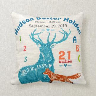 Boy Nursery Baby Birth Stat Fox Deer Arrow Throw Pillows