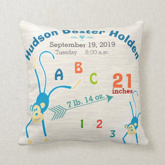 Boy Nursery Baby Birth Stat Monkey Cute Arrow Throw Pillow