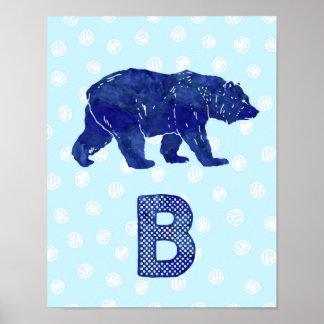 Boy Nursery Decor Bear Letter B Blue Dots Poster