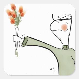 Boy ofering flowers square sticker
