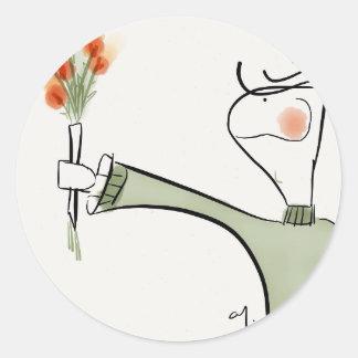 Boy ofering flowers round sticker