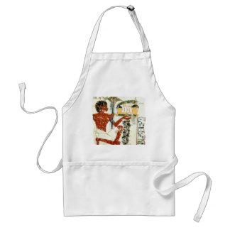 boy offering adult apron
