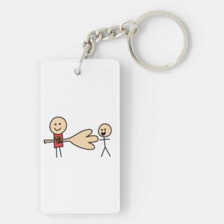 Boy Offering Shake Hand Peace Friend Friendship Double-Sided Rectangular Acrylic Keychain