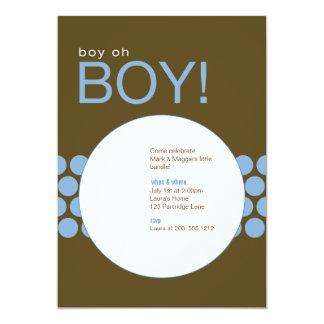 Boy Oh Boy Baby Shower Invite_Blue/Brown Card