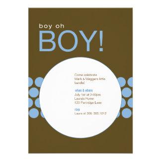 Boy Oh Boy Baby Shower Invite_Blue Brown Card