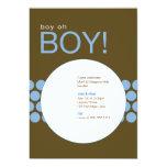"Boy Oh Boy Baby Shower Invite_Blue/Brown 5"" X 7"" Invitation Card"