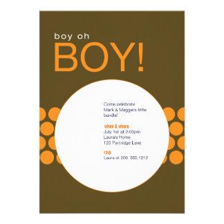 Boy Oh Boy Baby Shower Invite_Brown Orange Personalized Invitation