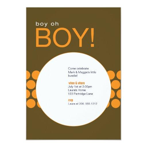 """Boy Oh Boy Baby Shower Invite_Brown/Orange 5"""" X 7"""" Invitation Card"""