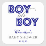 Boy Oh Boy Baby Shower Party Favor Labels Square Sticker