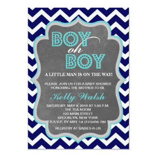 Boy Oh Boy Chalkboard Chevron Baby Shower Invite