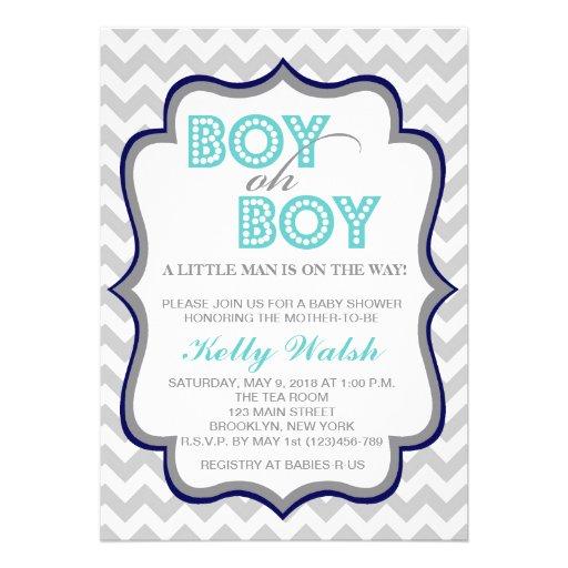 Boy Oh Boy Chic Chevron Baby Shower Invitation Personalized Invites
