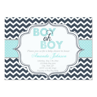 Great Boy Oh Boy Chic Chevron Baby Shower Invitation
