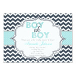 Boy Oh Boy Chic Chevron Baby Shower Invitation at Zazzle