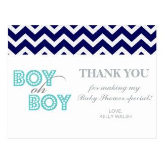 Boy Oh Boy Chic Chevron Thank You Note Postcard