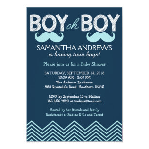 Twin boys baby shower invitations zazzle boy oh boy invitation twins baby shower invite filmwisefo