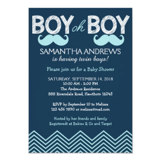 Boy Oh Boy Invitation, Twins Baby Shower Invite