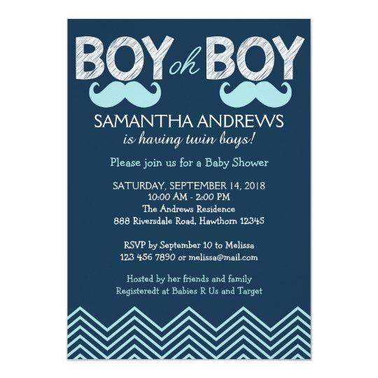 Boy Oh Boy Invitation Twins Baby Shower Invite Zazzlecom