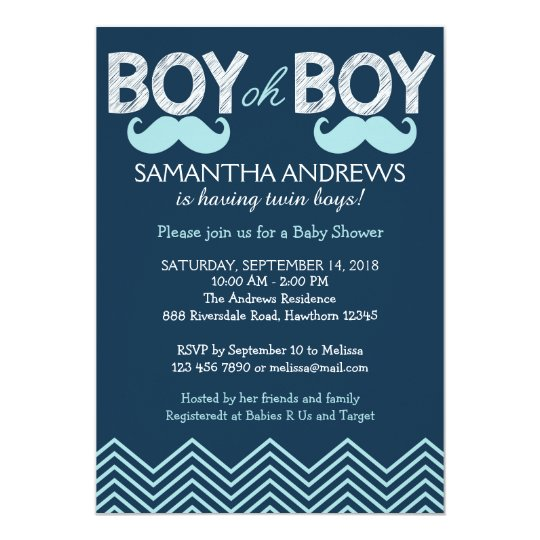 Baby Shower Invitations Wording For Boys: Boy Oh Boy Invitation, Twins Baby Shower Invite