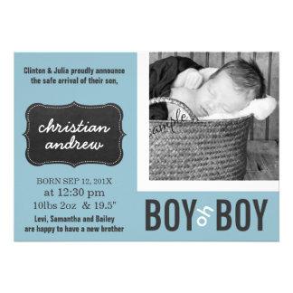 Boy oh Boy Modern Blue New Baby Custom Invitation