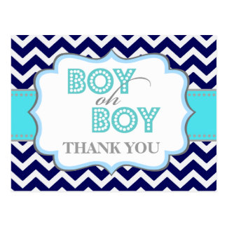 Boy Oh Boy Mustache Baby Shower Thank You Postcard