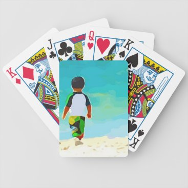 Beach Themed Boy on Beach Bicycle Playing Cards