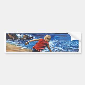 Boy on Beach Lake Superior Bumper Sticker
