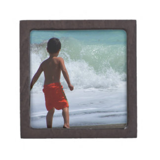 boy on beach playing in water premium gift boxes