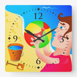 Boy On Beach With Ball Square Wall Clock