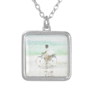 Boy on Bicycle Silver Plated Necklace