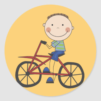 Boy on Bicycle Tshirts and Gifts Classic Round Sticker