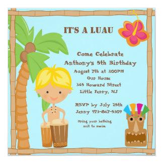 Boy on Bongo Luau Square Birthday Invitation