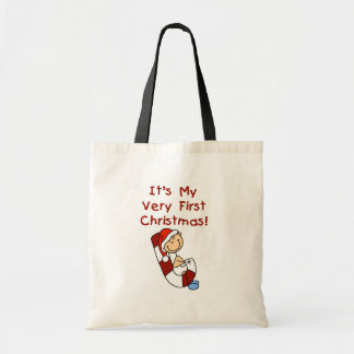 Boy on Candy Cane 1st Christmas Tote Bag
