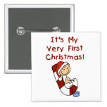 Boy on Candy Cane 1st Christmas Pinback Buttons