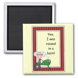 Boy on Green Tractor - Farmyard Barnyard - Kids 2 Inch Square Magnet