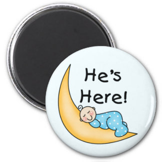 Boy on Moon He's Here 2 Inch Round Magnet