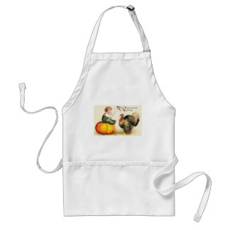 Boy on Pumpkin and Turkey Vintage Thanksgiving Adult Apron