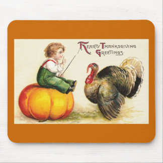 Boy on Pumpkin and Turkey Vintage Thanksgiving Mouse Pad